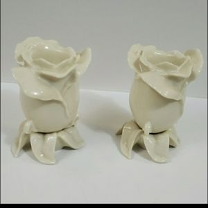 Lenox Set of Two Porcelain Tulip Candleholders